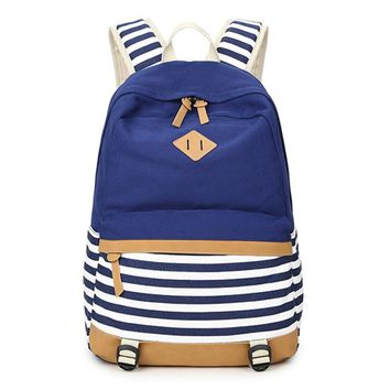 School Bags For Teenagers Cute Canvas Backpacks For Teenage Girls Striped Printing Women's Backpack School Bag For Girls