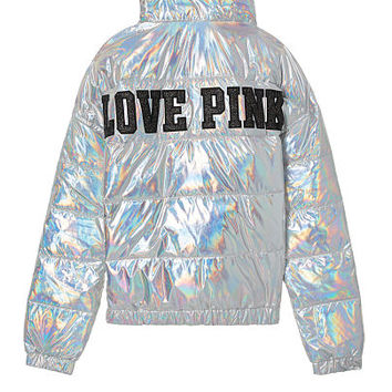 Limited Release! Fashion Show Metallic Puffer Jacket - PINK - Victoria's Secret
