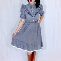 Vintage 50s Union Made Navy Blue Gingham Western Fitted Cotton Midi Length Swing Dress M // S