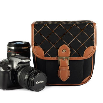 Black canvas DSLR Camera Bags--Padded Camera Insert One Body One Lens 118