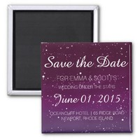 Wedding under the stars Save the Date PINK 2 Inch Square Magnet