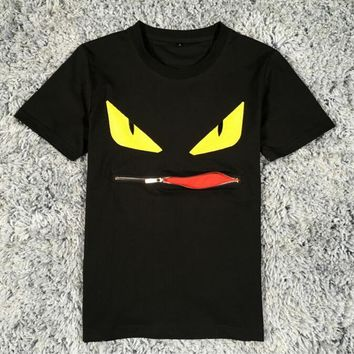 ca auguau Embroidery zipper monster eyes T Shirt