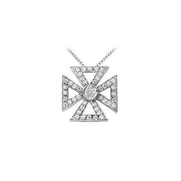 Diamond Maltese Cross Pendant : 14K White Gold - 0.75 CT Diamonds