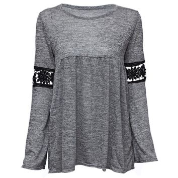 Stylish Round Collar Long Sleeve Hollow Out Lace Stitching Women's T-Shirt