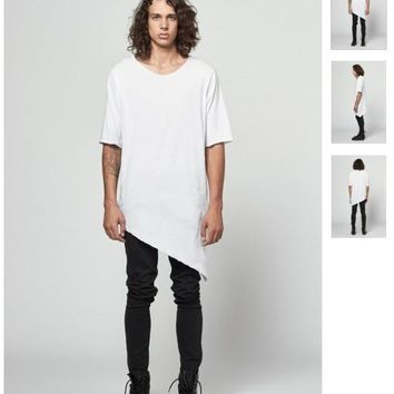 New Men Hiphop tees Basic  tshirts fashion swag  white extended oversized tshirt hip hop kanye west hood by air last kings tee