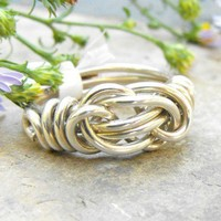 Sterling Silver Infinity Knot Ring Heavy Gauge Wire Wrapped Ring | WestWindCreations - Jewelry on ArtFire