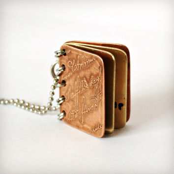 Metal Book Pendant - If You Can Read This Thank a Teacher - Copper, Brass with Etched Cover - Can Be Personalized