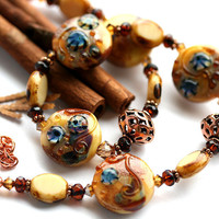 Lampwork necklace and earrings  artisan by MayaHoney