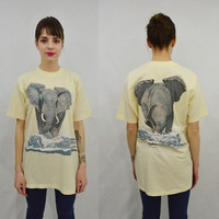 Elephant Shirt Mens Large Soft Grunge Hippie 80s Hipster Vintage Tshirt Unisex Womens Front Back Print Wildlife Animal RARE Perfect Love