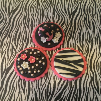 Handmade Girls Night Out! Zebra, Flowers, Pearls, Handbag. Set of 12 (one dozen) 4 of each pattern.