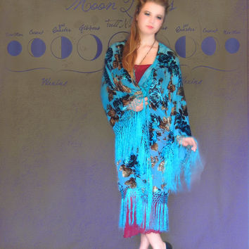 Long fringe kimono / large sheer silk burnout velvet jacket in turquoise blue with pretty floral / hippie gypsy boho duster coat