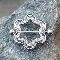 Clear CZ Flower Double Tier Nipple Ring