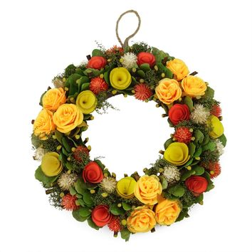 """12.5"""" Peach  Orange and Yellow Flowers with Moss and Twig Artificial Floral Spring Wreath"""