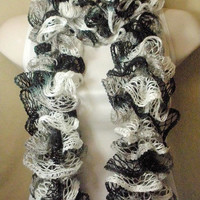 Black White and Grey Ruffled Fashion Knit Scarf Multicolor
