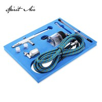Portable 0.2mm / 0.3mm / 0.5mm Needles & Nozzles Dual Action Airbrush Air Compressor Kit Craft Cake Paint Art Spray Gun Set