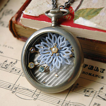 Steampunk Necklace Silver Pocket Watch with by bionicunicorn