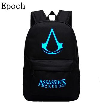 VEEVANV 2016 New Design Assassins Creed Backpacks Luminous 5 Colors Backpack Canvas Printing School Bags For Teenagers Backpack