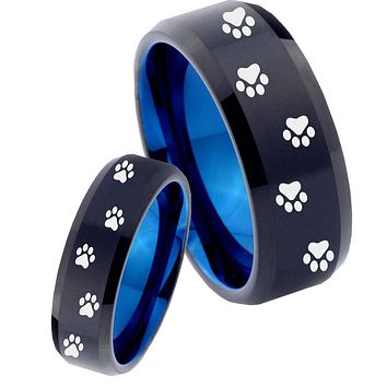 His Hers Paw Print Designs Bevel Tungsten Blue Mens Promise Ring Set