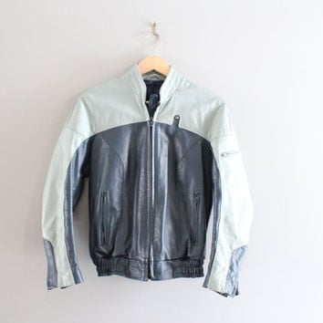 BMW Leather Racer Jacket Blue Leather bomber Motor Jacket Made in West Germany 70s 80s Vintage  Size S - M