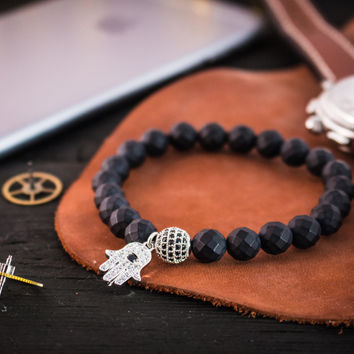 Matte black faceted onyx beaded stretchy bracelet with silver micro pave Hamsa hand charm & ball, made to order bracelet
