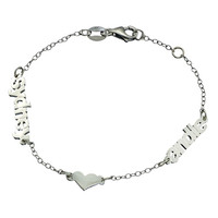 Danielle Stevens Personalized Two Names One Heart Chain Bracelet