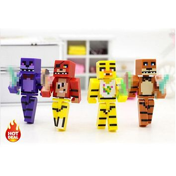 4pcs/set Minecraft  At  4  Foxy Chica Bonnie Freddy Action Figures Kid Toy #E