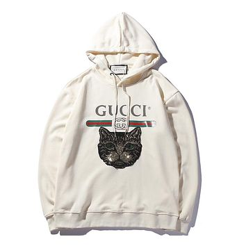 GUCCI sequin embroidery cat long sleeve pullover top hoodie hooded sweater F-A-KSFZ Apricot