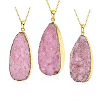 Rose Quartz Stone Oval Natural Crystal Necklace