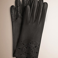 Laser-Cut Lace Leather Gloves