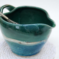 Green Handled Mixing Bowl with pouring spout-- all Handcrafted and thrown on the wheel by Elena Madureri