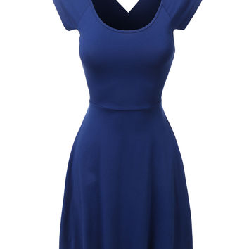 LE3NO Womens Scoop Neck Criss Cross Fit and Flare Dress