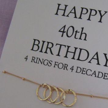 40th Birthday Gift for her, GOLD Eternity necklace for mom, family of 4, gift for wife, gold Eternity necklace, Gift For Her