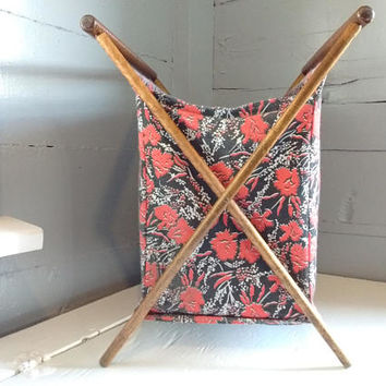 Vintage, Sewing Stand, Sewing Bag, Sewing Storage, Portable Sewing Stand, Sewing, Hamper, MidCentury,  RhymeswithDaughter
