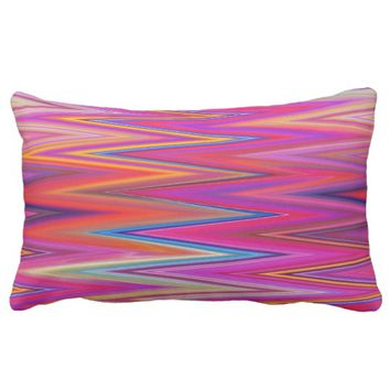 Abstract Zig Zag Colorful pink orange Throw pillow