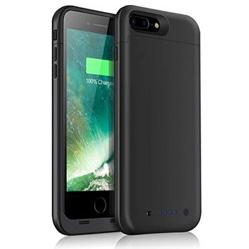 iPhone 7 Plus Battery Case 7000mAh Capacity Extended Battery Power Charger for iPhone 7Plus (5.5inch) 4 LED Indication Ultra Slim Portable Charging Cover - Black