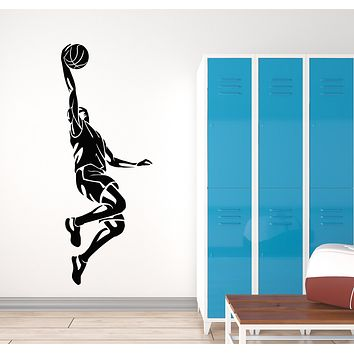 Vinyl Wall Decal Basketball Player Jumping Game Ball Sport Stickers Mural (g1197)