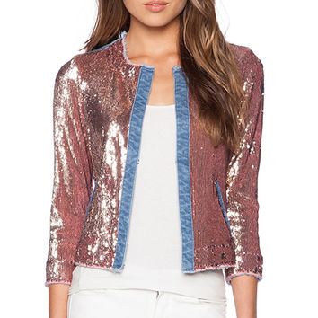 Sam Edelman Sequin & Denim Jacket in Metallic Bronze