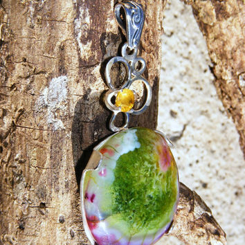 Watermelon Tourmaline & Sterling Silver Pendant with Yellow Sapphire Accent