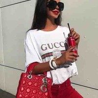 """Gucci"" New Fashion Women Men Hot letters print T-shirt top White"