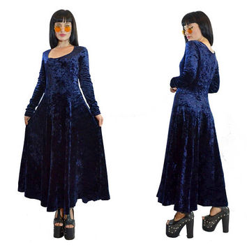 vintage 90s midnight blue velvet maxi dress soft grunge cyber grunge witchy vamp crushed velvet small / medium