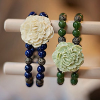 """Handmade Double Strand Bracelet Olive Green Malaysia """"Jade"""" Beads Green Resin Flower Antiqued Gold Filigree Stretch"""