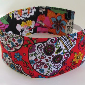Sugar Skulls Comics Headband / Day of the Dead Hair Accessories / Reversible Fabric Head Band
