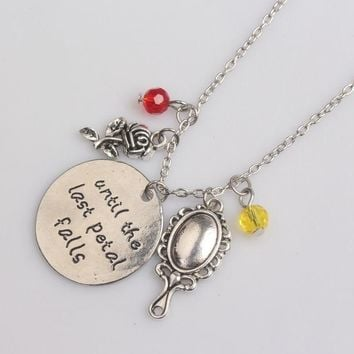 Film Beauty And The Beast candlestick Wall clock teapot rose lens necklace with crystal jewelry