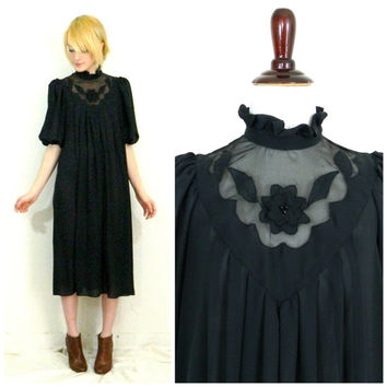 80s vintage high neck shift dress / Black gothic victorian style chiffon / Flower mesh chest deep V / Poof short sleeve