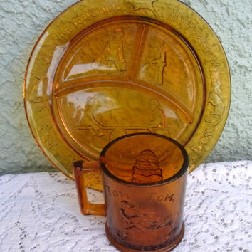 Vintage Child's Plate and Mug Tiara Amber Glass Nursery Rhyme Sectioned Glass Plate and Matching Mug