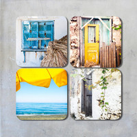 A set of four square photo coasters 9x9 cm Crete Greece photographs beach old wooden door shutter window vine sea summer sun blue yellow
