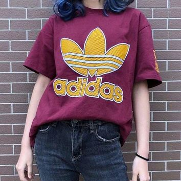 ADIDAS Burgundy Tee Gold Mark Shirt Top Sleeve Print