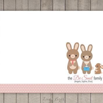 Personalized Rabbit Family Note Card