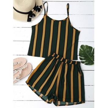 Women Striped Crop Top and Shorts Set One Size