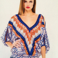 Analili Gwen Orange & Blue Geometric Print